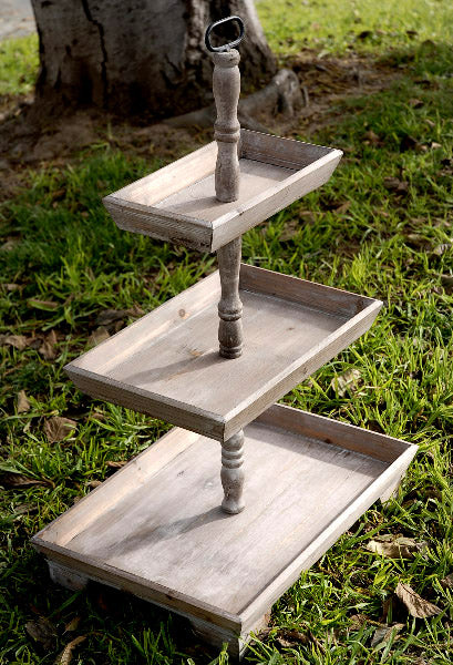 2 rustic 3 tier stands 35in