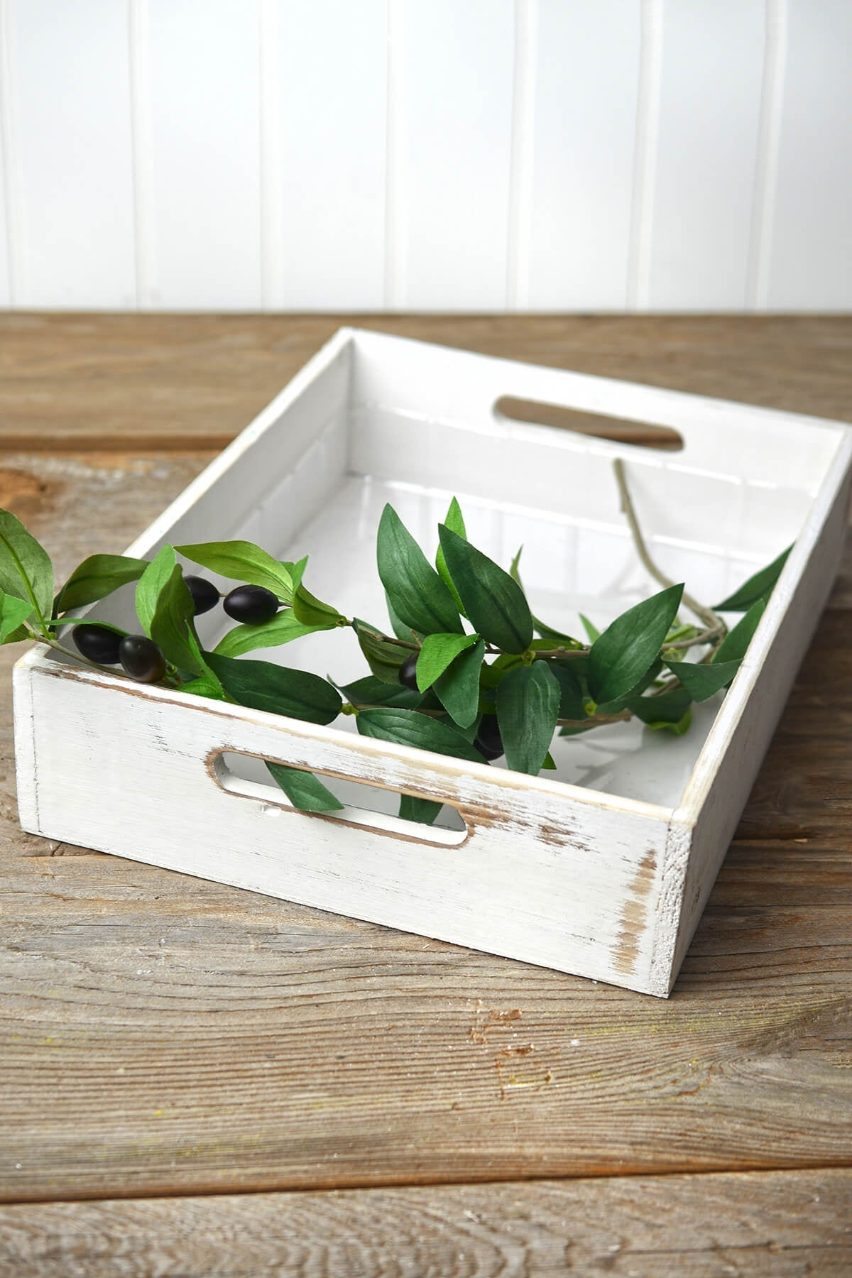 White Wood Rectangle Tray 10x14
