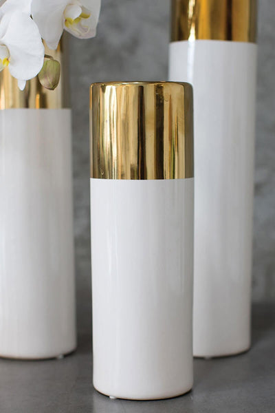 White & Gold 12in Klein Vase