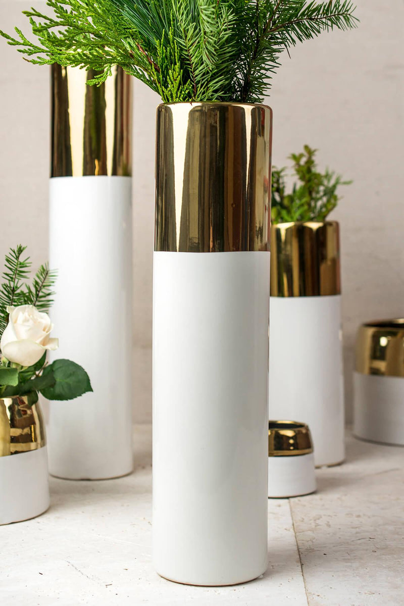 White & Gold 16in Klein Vase