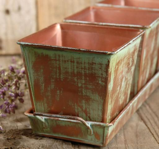 Verdigris Copper Herb Planters & Tray 12in