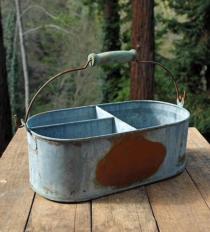 Weathered Metal Caddy Gray