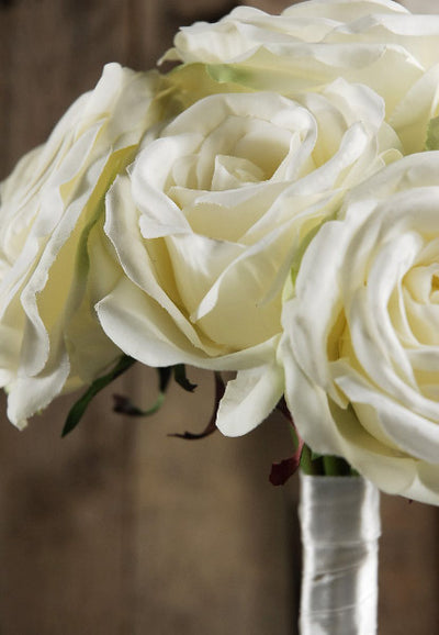 Hand Wrapped White Rose Wedding Bouquet