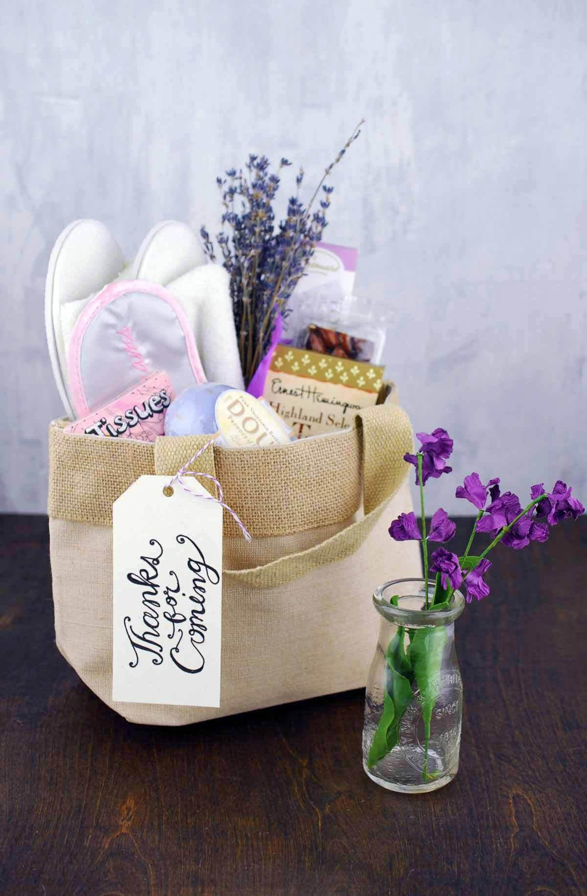 "Natural Burlap Bag with Handles 8""  Wedding Welcome Bag 7x4x8.5in"
