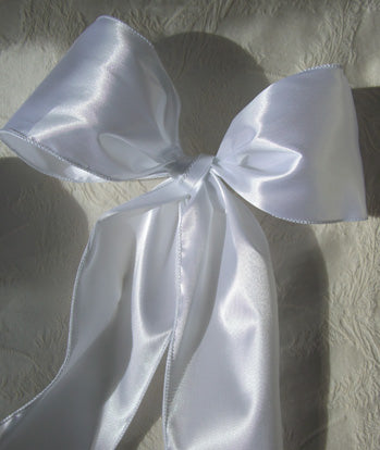 "White 4"" Wide Satin Wired Ribbon 10yds"