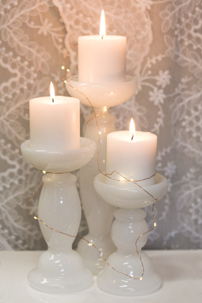 Richland White Glass Pillar Candle Holder 6.5""