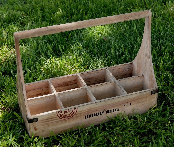 Wood Caddy Wine Bottle Holder (holds 8 bottles)