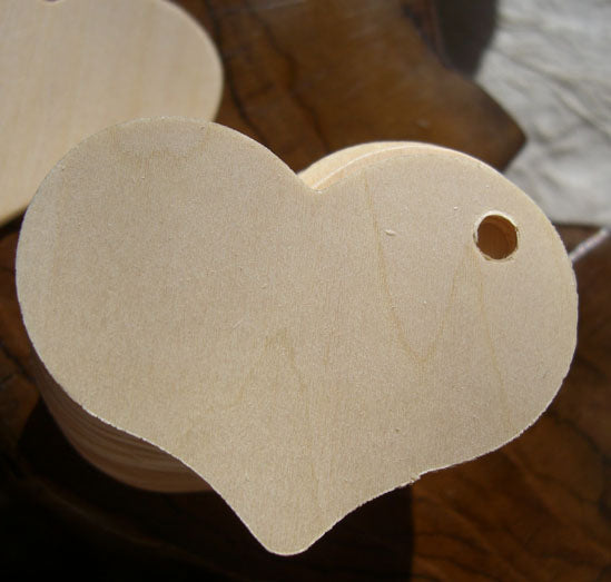 "25 Wood Hearts Tags  2.5"" Cut Outs"