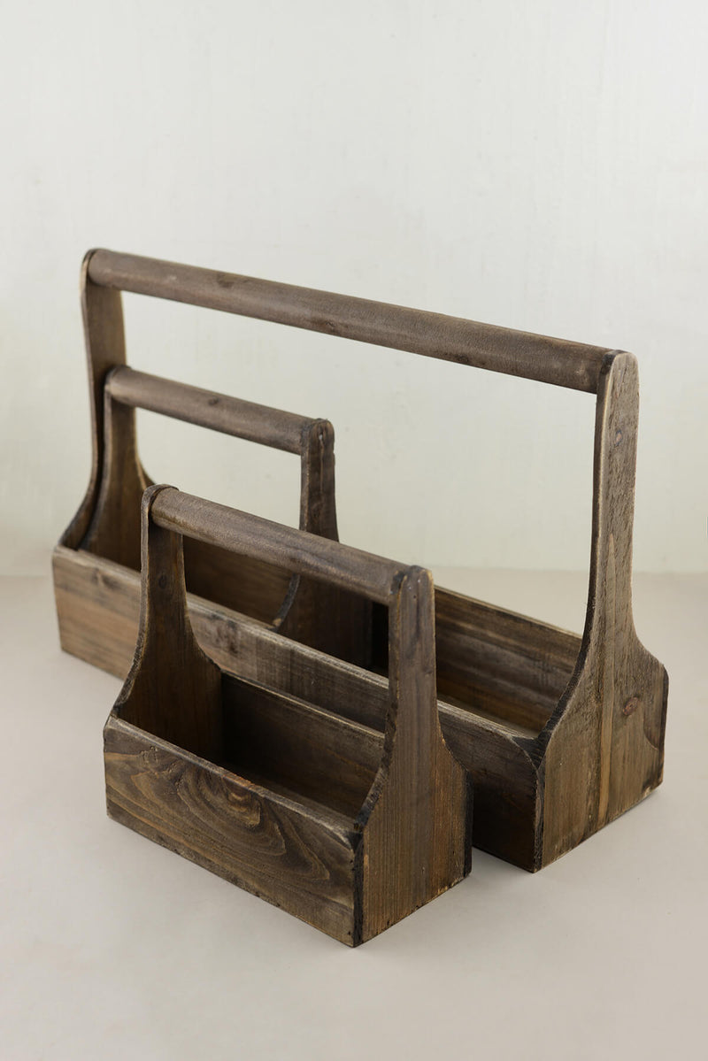 Decorative Wood Planter Set, Tool Caddy Planters