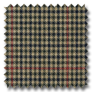 Brown with Black & Red Check Super 110's Wool