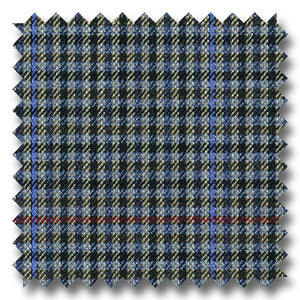 Gray with Black, Red & Blue Check Super 110's Wool