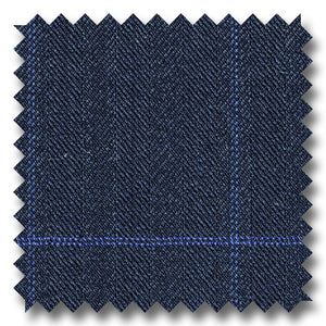 Navy with Blue Check  Herringbone Super 110's Wool