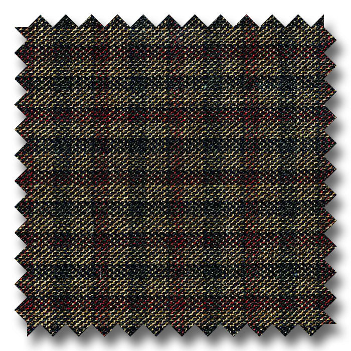 Brown with Black & Maroon Check Super 110's Wool