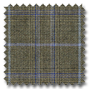 Brown with Blue & Black Check Super 110's Wool