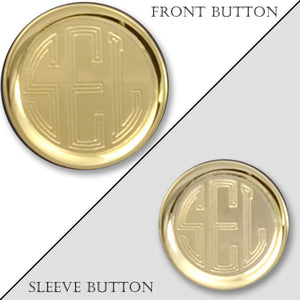 Rimmed Polished Gold Monogram Blazer Button
