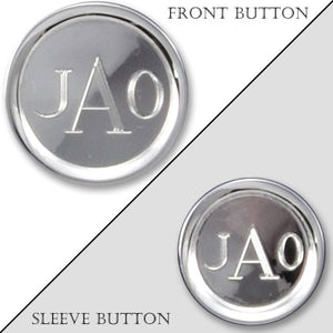 Rhodium Electroplated Rimmed Monogram Blazer Button