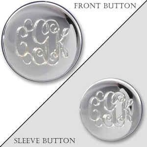 Rhodium Electroplated Polished Monogram Blazer Button