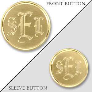 Gold Electroplated Monogram Blazer Button with Satin Finish