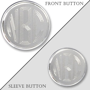 Rhodium Electroplated Monogram Blazer Button with Satin Finish