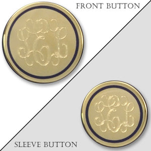 Polished Gold Electroplated Monogram Blazer Button with Navy Epoxy