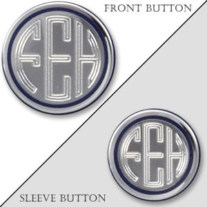 Polished Rhodium Electroplated Monogram Blazer Button with Navy Epoxy