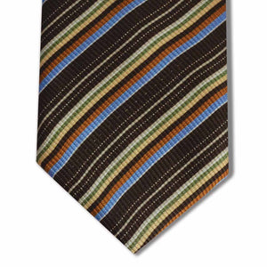 Brown with Green, Yellow, Orange, and Blue Stripe Tie