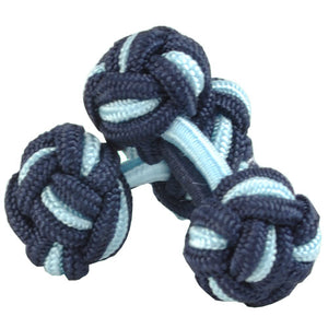 Navy and Light Blue Silk Knot Cufflinks