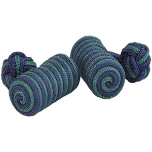 Navy and Green Barrel Silk Knot Cufflinks