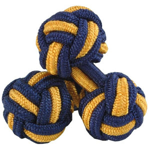 Blue and Yellow Silk Knot Cufflinks