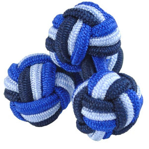 Three Tone Blue Silk Knot Cufflinks