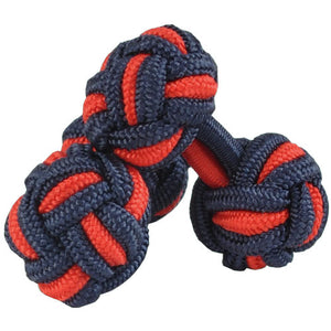 Navy and Red Silk Knot Cufflinks
