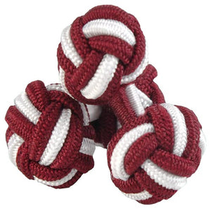 Burgundy and White Silk Knot Cufflinks