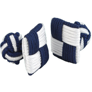 Navy and White Square Silk Knot Cufflinks