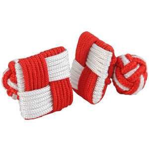 Red and White Square Silk Knot Cufflinks