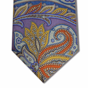 Purple with Yellow, Orange, and Blue Paisley Pattern Custom Tie
