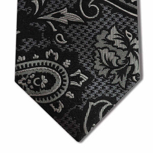 Black and Silver Silk Paisley Pattern Custom Tie