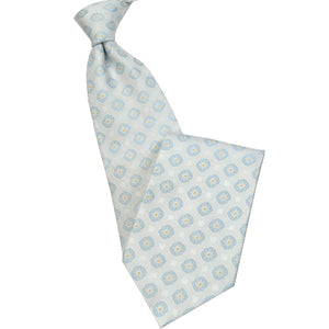 Light Gray with Blue Medallion Tie