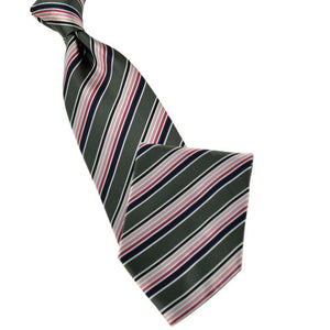Olive Green with Blue and Shades of Pink Stripe Tie