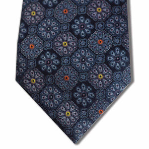Navy and Purple with Yellow and Orange Floral Pattern Custom Tie