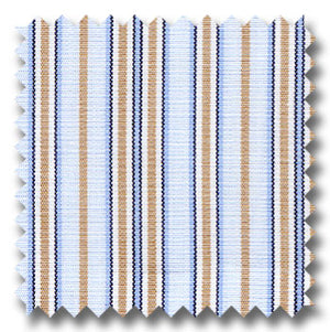 Blue, Kahki, and White Stripe Custom Dress Shirt