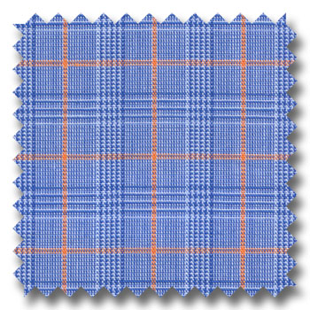 Blue and Orange Deco Check / Plaid Custom Dress Shirt