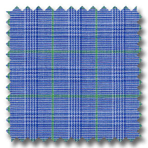 Blue and Green Deco Check / Plaid Custom Dress Shirt