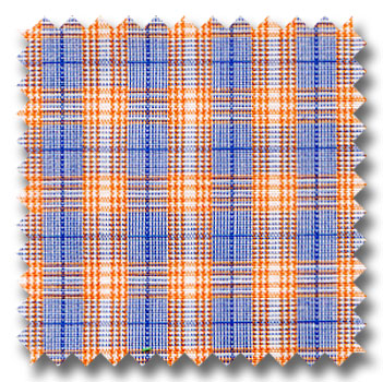Carrot, Blue, and White Plaid Custom Dress Shirt