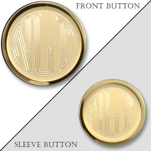 Rimmed Sandblasted Gold Monogram Blazer Button