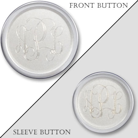 Rhodium Electroplated Sandblasted Monogram Blazer Button