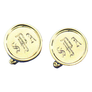Rimmed Round Polished 24k Gold Monogram Cufflinks