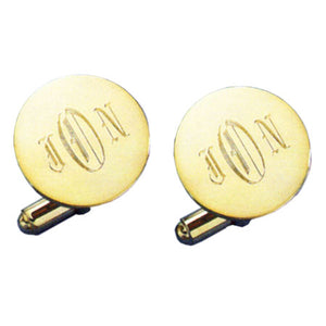 Domed Round Polished 24k Gold Monogram Cufflinks