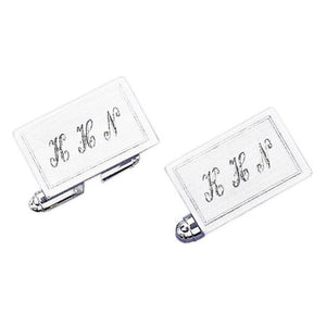 Satin Finish with Polished Edge Rhodium Monogram Cufflinks