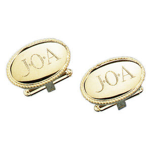 Beaded Oval 24k Gold Monogram Cufflinks