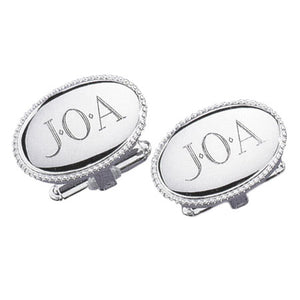 Beaded Oval Rhodium Monogram Cufflinks